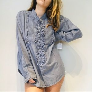 NWT Free People chambray bib button down top